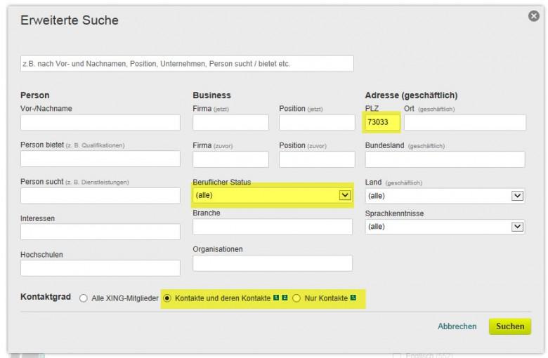 PLZ, Beruflichen Status und Kontakte oder Kontakte und Kontakte 2. Grades wählen